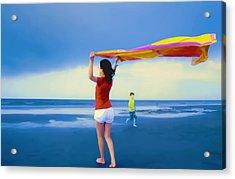 Children Playing On The Beach Acrylic Print by Vizual Studio