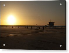 Windy Sunset At Santa Monica Beach Acrylic Print by Oscar Karlsson