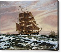 Acrylic Print featuring the painting Windy Voyage by Rick Fitzsimons