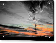 Windy Windmill Acrylic Print by Miss Judith