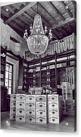 Wine And Chandeliers Black And White Acrylic Print by Georgia Fowler