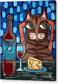 Wine And Cheese Cat Acrylic Print