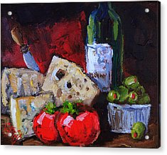 Wine And Cheeses Acrylic Print by Carole Foret