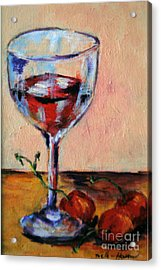 Wine And Cherries Acrylic Print by Toelle Hovan