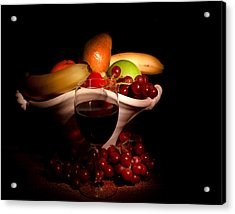 Wine And Fruit Acrylic Print by Cecil Fuselier