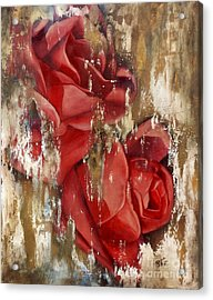 Wine And Roses Acrylic Print by Rebecca Glaze