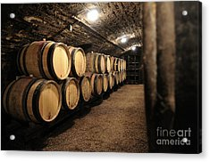 Wine Barrels In A Cellar. Cote D'or. Burgundy. France. Europe Acrylic Print