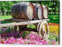 Wine Barrels In Spring At V Sattui Winery Acrylic Print by Michelle Wiarda