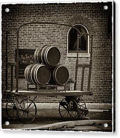 Wine Barrels On Rr Cart Hermann Mo Dsc09285 Acrylic Print by Greg Kluempers