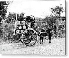 Wine Barrels To Town Acrylic Print by Underwood Archives