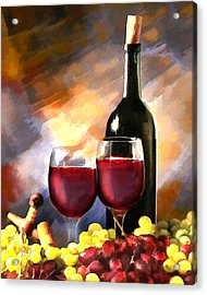 Wine Before And After Acrylic Print by Elaine Plesser