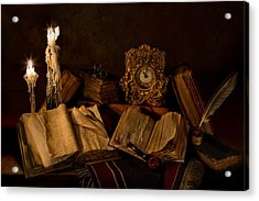 Wine Bottle Candles Books And Pipe Acrylic Print by Mary Tomaino