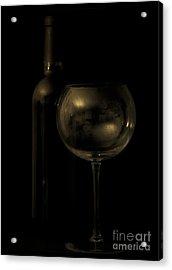 Wine Bottle Still Life Deep Red Acrylic Print by Edward Fielding