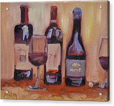 Wine Bottle Trio Acrylic Print by Donna Tuten