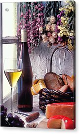 Wine Bottle With Glass In Window Acrylic Print by Garry Gay