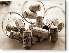 Wine Corks And Wine Glasses Toned Acrylic Print