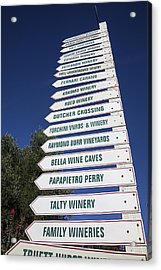 Wine Country Signs Acrylic Print by Garry Gay