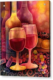 Wine For Two Acrylic Print by Hailey E Herrera