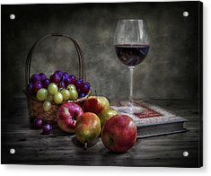 Wine, Fruit And Reading. Acrylic Print by Fran Osuna