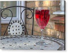 Wine Glass On Table Al Fresco Acrylic Print by Fizzy Image