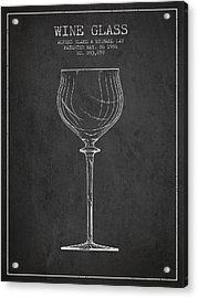 Wine Glass Patent From 1986 - Charcoal Acrylic Print by Aged Pixel
