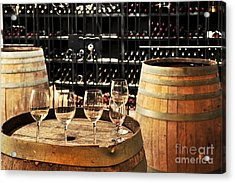 Wine Glasses And Barrels Acrylic Print by Elena Elisseeva