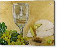 Wine Grapes And Cheese Acrylic Print by Melissa Torres