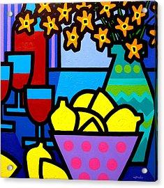 Wine Lemons And Flowers Acrylic Print by John  Nolan