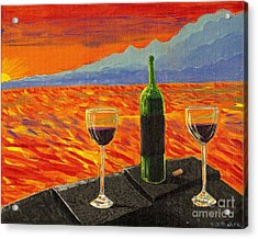 Wine On Sunset Terrace Acrylic Print by Vicki Maheu