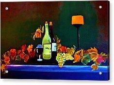 Wine On The Mantel Acrylic Print by Lisa Kaiser