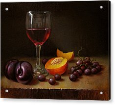Wine Peach And Plums Acrylic Print by Timothy Jones