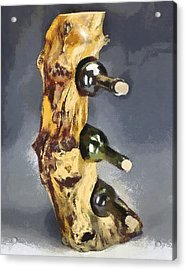 Wine Rack A Piece Of Wood Acrylic Print by Georgi Dimitrov