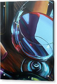 Wine Reflections Acrylic Print by Donna Tuten