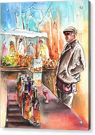 Wine Vendor In A Provence Market Acrylic Print by Miki De Goodaboom