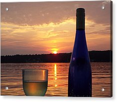 Wine Water Sunset Acrylic Print by Cindy Croal