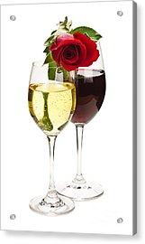 Wine With Red Rose Acrylic Print by Elena Elisseeva
