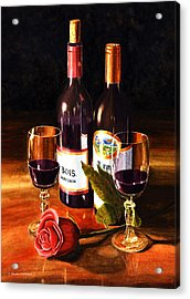 Wine With Rose Acrylic Print by Douglas Castleman