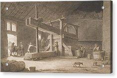 Winepress Of Monsieur Dittyl Acrylic Print by Lambert Doomer