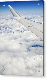 Wing Of Flying Airplane Over French Alps Acrylic Print