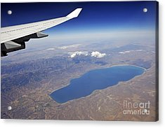 Wing Of Flying Airplane Over Lake And Mountains Acrylic Print by Sami Sarkis