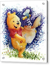 Winnie The Pooh And Honey Pot Acrylic Print