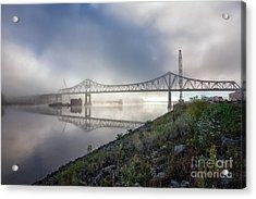 Winona Bridge With Fog Acrylic Print