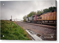 Winona Mn Train Scene Puddle Acrylic Print