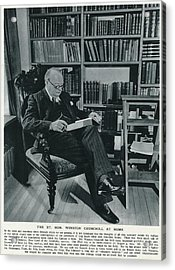 Winston Churchill  At Home, Reading Acrylic Print by  Illustrated London News Ltd/Mar