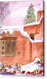 Acrylic Print featuring the painting Winter Adobe by Paula Ayers