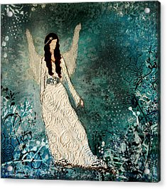 Winter Angel Inspirational Christian Mixed Media Painting  Acrylic Print