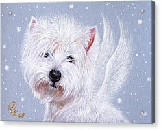 Winter Angel - Westie Acrylic Print by Elena Kolotusha