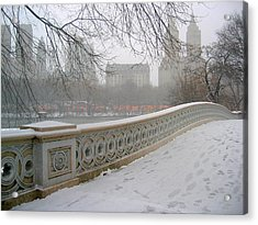 Winter At Bow Bridge Acrylic Print