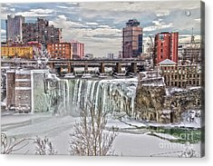 Winter At High Falls Acrylic Print by William Norton