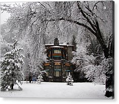 Winter At The Ahwahnee In Yosemite Acrylic Print by Carla Parris